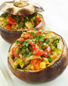 Baked stuffed eggplants